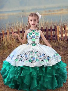 High Class Turquoise Scoop Neckline Embroidery and Ruffles Little Girl Pageant Dress Sleeveless Lace Up