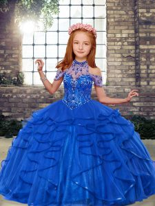 Ball Gowns Kids Pageant Dress Blue High-neck Tulle Sleeveless Floor Length Lace Up