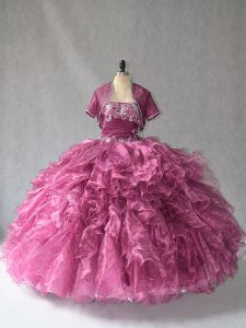Excellent Burgundy Sleeveless Floor Length Beading and Ruffles Lace Up Vestidos de Quinceanera