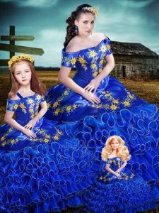 Eye-catching Royal Blue Off The Shoulder Lace Up Embroidery and Ruffles Sweet 16 Dresses Sleeveless