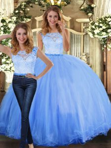 Attractive Floor Length Two Pieces Sleeveless Blue 15 Quinceanera Dress Clasp Handle