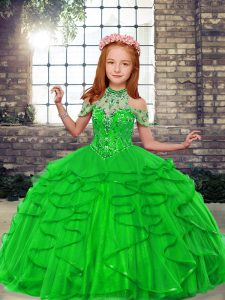 Graceful Sleeveless Floor Length Beading and Ruffles Lace Up Girls Pageant Dresses with