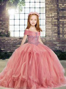 Ball Gowns Pageant Gowns For Girls Watermelon Red Straps Tulle Sleeveless Floor Length Lace Up