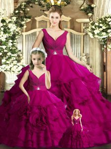 Ball Gowns 15 Quinceanera Dress Fuchsia V-neck Organza Sleeveless Floor Length Backless