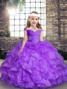 Lavender Sleeveless Organza Lace Up Little Girls Pageant Dress Wholesale for Party and Wedding Party