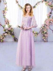 Lavender Empire Lace and Belt Dama Dress Side Zipper Tulle Half Sleeves Floor Length