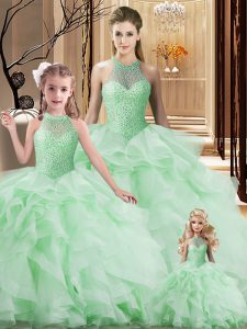 Lace Up 15 Quinceanera Dress Apple Green for Sweet 16 and Quinceanera with Beading and Ruffles Brush Train