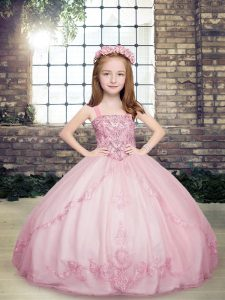 Beauteous Beading Kids Pageant Dress Lilac Lace Up Sleeveless Floor Length