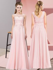 Spectacular Baby Pink Chiffon Zipper Quinceanera Dama Dress Sleeveless Floor Length Beading and Appliques