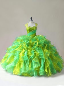 Multi-color Ball Gowns Straps Sleeveless Organza Floor Length Zipper Beading and Ruffles Vestidos de Quinceanera