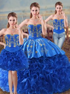 Hot Selling Floor Length Royal Blue Quinceanera Gowns Fabric With Rolling Flowers Sleeveless Embroidery and Ruffles