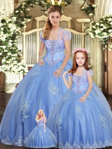 Enchanting Tulle Strapless Sleeveless Lace Up Beading and Appliques Sweet 16 Dress in Light Blue