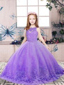 Attractive Lavender Sleeveless Floor Length Lace and Appliques Backless Little Girls Pageant Gowns