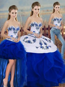 New Style Royal Blue Sweetheart Lace Up Embroidery and Ruffles and Bowknot Quinceanera Gowns Sleeveless