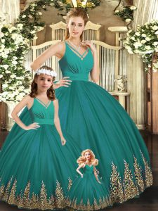 Custom Design Floor Length Turquoise Sweet 16 Quinceanera Dress Tulle Sleeveless Embroidery