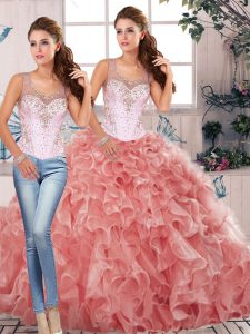 Watermelon Red Clasp Handle Quinceanera Gowns Beading and Ruffles Sleeveless Floor Length