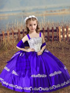 Ball Gowns Little Girl Pageant Dress Purple Straps Satin Sleeveless Floor Length Lace Up
