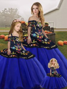 Spectacular Royal Blue Tulle Lace Up Quinceanera Gown Sleeveless Floor Length Embroidery