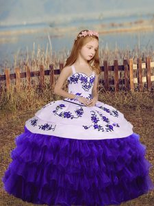 Organza Sleeveless Floor Length Child Pageant Dress and Embroidery and Ruffled Layers