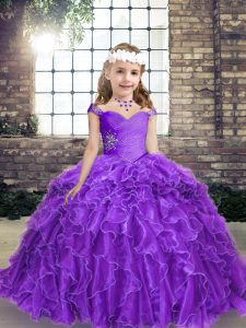Nice Sleeveless Floor Length Beading and Ruffles Lace Up Pageant Gowns For Girls with Purple