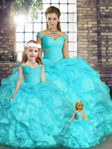 Amazing Off The Shoulder Sleeveless Lace Up Ball Gown Prom Dress Aqua Blue Organza