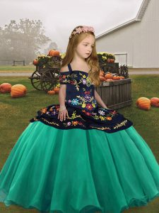 Glorious Turquoise Sleeveless Organza Lace Up Little Girls Pageant Dress Wholesale for Party and Wedding Party