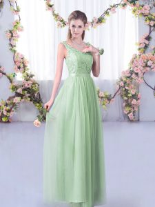 Sleeveless Tulle Floor Length Side Zipper Quinceanera Dama Dress in Apple Green with Lace and Belt
