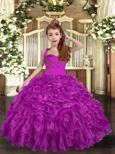 Ball Gowns Girls Pageant Dresses Fuchsia Straps Organza Sleeveless Floor Length Lace Up