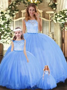 Ball Gowns Sweet 16 Dresses Blue Scoop Tulle Sleeveless Floor Length Clasp Handle