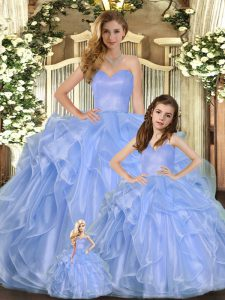 Suitable Lavender Ball Gowns Organza Sweetheart Sleeveless Ruffles Floor Length Lace Up Vestidos de Quinceanera