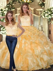 Graceful Gold Sleeveless Organza Clasp Handle Quinceanera Dresses for Military Ball and Sweet 16 and Quinceanera