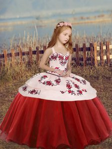 Embroidery Girls Pageant Dresses Red Lace Up Sleeveless Floor Length