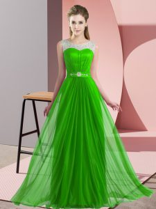 Dazzling Green Vestidos de Damas Wedding Party with Beading Scoop Sleeveless Lace Up
