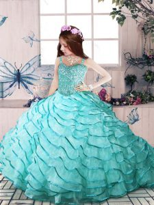 Organza Spaghetti Straps Sleeveless Lace Up Beading and Ruffled Layers Kids Pageant Dress in Aqua Blue