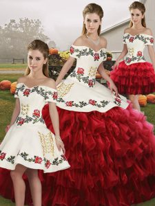 Off The Shoulder Sleeveless Lace Up Quinceanera Dresses Wine Red Organza
