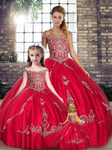 Floor Length Lace Up Sweet 16 Dresses Red for Military Ball and Sweet 16 and Quinceanera with Beading and Embroidery
