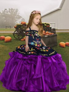 Floor Length Eggplant Purple Little Girls Pageant Dress Wholesale Organza Sleeveless Embroidery