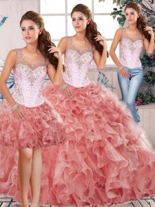 Dazzling Beading and Ruffles Quince Ball Gowns Watermelon Red Clasp Handle Sleeveless Floor Length
