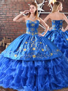 Traditional Sleeveless Satin and Organza Floor Length Quinceanera Dresses in Blue with Embroidery