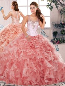 Scoop Sleeveless Organza 15 Quinceanera Dress Beading and Ruffles Clasp Handle