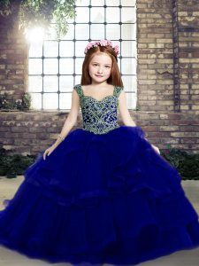 Top Selling Sleeveless Organza Floor Length Lace Up Little Girl Pageant Gowns in Royal Blue with Beading and Ruffles