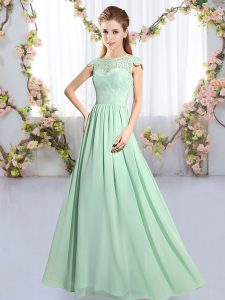 Sumptuous Apple Green Scoop Neckline Lace Dama Dress for Quinceanera Cap Sleeves Clasp Handle