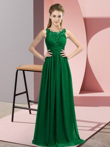 Inexpensive Floor Length Dark Green Court Dresses for Sweet 16 Chiffon Sleeveless Beading and Appliques