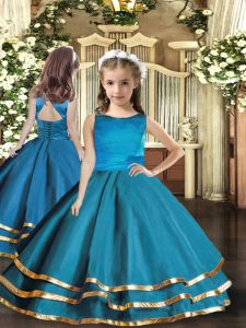 Organza Sleeveless Floor Length Little Girl Pageant Gowns and Ruffled Layers