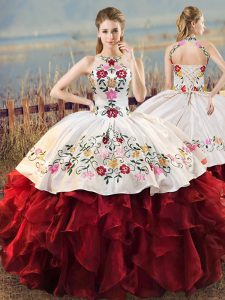 White And Red Ball Gowns Organza Halter Top Sleeveless Embroidery and Ruffles Floor Length Lace Up Vestidos de Quinceanera