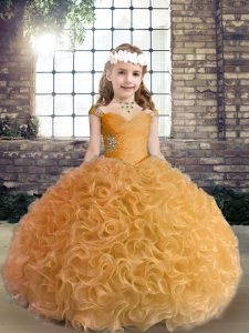 Fabric With Rolling Flowers Sleeveless Floor Length Little Girls Pageant Dress and Beading