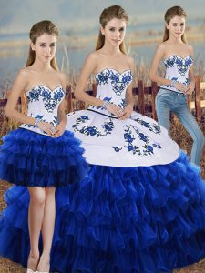 Floor Length Royal Blue Quinceanera Gown Organza Sleeveless Embroidery and Ruffled Layers and Bowknot