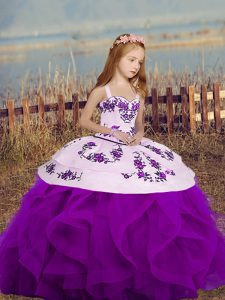 Latest Sleeveless Floor Length Lace Up Little Girls Pageant Dress Wholesale in Purple with Embroidery and Ruffles
