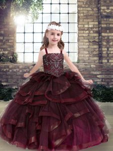 Burgundy Straps Lace Up Beading and Ruffles Little Girls Pageant Gowns Sleeveless