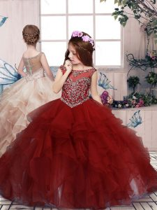 Custom Made Red Scoop Lace Up Beading and Ruffles Child Pageant Dress Sleeveless